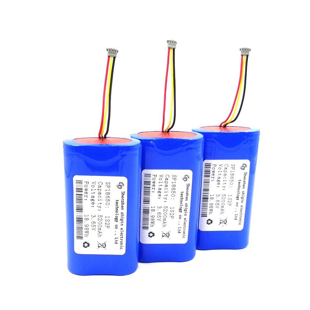 SP18650 1S2P 3.65V 5200mAh PCM with secondary protection,Plugs can be customized according to requirements